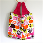 Large Market Carry Bag - Neon Pink & Orange Geo Scallops