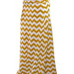 Mustard Chevron Maxi Skirt in Cotton Jersey