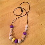 Clementine. Wood and silicone teething/nursing necklace