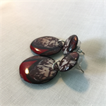 Button and drop RED BLACK earrings. Original and Unique one off design