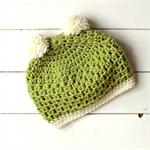 pom pom beanie | crochet | newborn | green