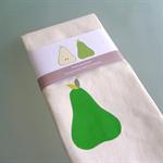 Tasmanian green pears linen tea towel