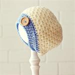 crochet beanie | chunky crochet | cream & blue |  newborn baby