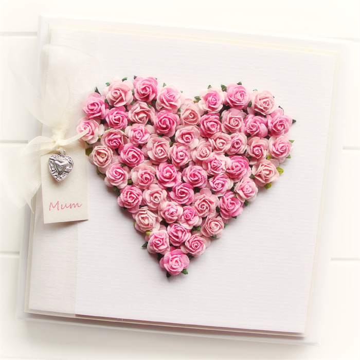 personalised heart card pink roses boxed mother s day birthday mum
