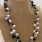 Black White Grey Crochet Wire Beaded Handmade OOAK Necklace by Top Shelf