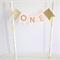 Bunting Cake Topper - 1st Birthday Pink and Gold Glitter Flags