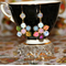 Retro charm mixed vintage glass crystal swarovski rockabilly victorian earrings