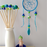 Mini Dreamcatcher - Turquoise with handmade  polymer clay beads