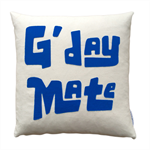 Decorative pillow G'Day Mate, retro cool design organic cotton fabric