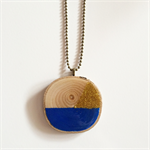 Royal Blue & Gold Wood Slice Necklace