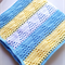 Triangle Crochet Baby Boys Blanket Light Blue, Lemon and White