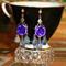 Rockabilly Flamenco rose mini chandelier Purple blue glass artisan earrings