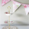 Vintage Bunting Retro Pink / Purple Floral & Lace Flags. Garden Party Decoration