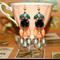 Rockabilly Flamenco rose chandelier Black coral vintage glass artisan earrings