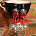 Rockabilly Flamenco rose chandelier red turquoise vintage glass artisan earrings