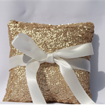 Gold Sequin Wedding Ring Pillow. Ring Bearer Pillow. Wedding Ring Dish. Cushion.