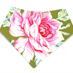 Floral rose baby bandana bib pink green babies dribble bibs girls flower shabby