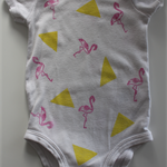 Flamingo and Triangle Onesie | Baby Girl Onesie | Hand Stamped Onesie