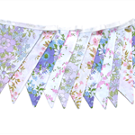 Vintage Bunting - Retro Pink Purple Floral & Doily Lace, Flags.  High Tea Party