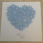 Mr & Mrs Floral diamanté Heart Card