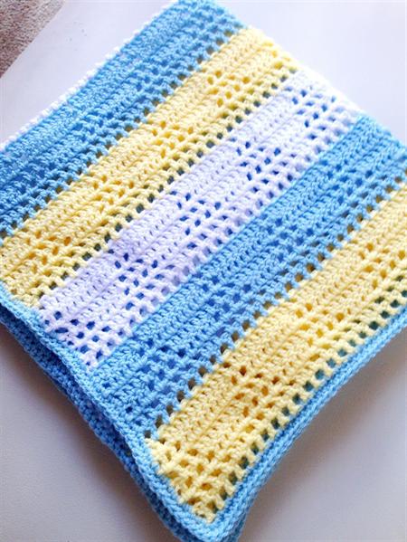 Triangle Crochet Baby Boys Blanket Light Blue Lemon And