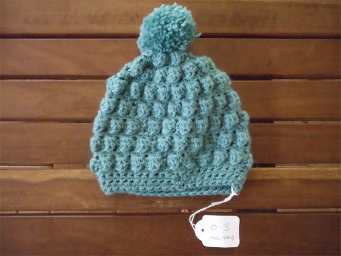 Crochet bobble stitch beanie hat Size 0-3 month old baby.  cf14468ca993