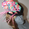 Carnivarle Time ..SALE ON multi pink green purple blue feathers fascinator hat