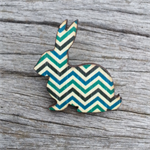 Wooden Brooch - Bunny Rabbit chevron.