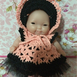"5 inch Berenguer Baby ""Peachy Girl"" Crochet Outfit  & Doll"