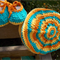 "Baby set - beret and ""dancing feet"" shoes in cotton/acrylic yarns"