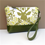 Issie Clutch / Wristlet:  Sage Deer with Flowers and Green Leather Trim