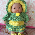 "5 inch Berenguer Baby ""Pineapple Sunshine Girl"" Crochet Outfit  & Doll"