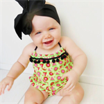 Watermelon Romper - playsuit, baby, girl, green, summer, birthday, newborn