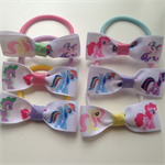 6 pack My Little Pony Hair Bow Elastic Ties Birthday Party Favours