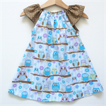 Owls Flutter Sleeve Peasant Dress, 100% Cotton, Size 2/3 Toddler