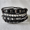 Black-n-White Boho Unisex Wrap Bracelet, Leather + Sterling Silver, Stacking