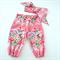 Pink Floral 1st Birthday Outfit / Cake Smash Set - Harem Pants & Head Wrap