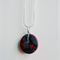 Heartfelt Fundraiser - Grey and red mixed media button pendant