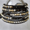 Boho Wrap Jewelry, 925 Silver+Gold Leather 5X times Wrap Bracelet w MIYUKI beads