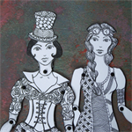 Paper Doll Set SteamPunk Inspired Art Dolls Ink Drawn Victorian