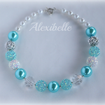 Aqua Sparkly Girls Bead Necklace
