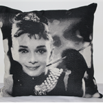 Audrey Hepburn, Black and White Cushion Cover