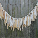 Fabric Garland. Wedding Ceremony Backdrop. Lace & Gold Garland. Bunting.