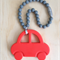 Silicone Car Teether in Coral/Grey