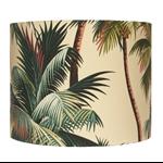 Hawaiian Barkcloth Palm Trees on Sand Fabric Handmade Lampshade - Medium