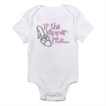 "Beautiful ""If the slipper fits"" onesie, makes a great gift!"