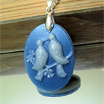 Double sided blue and white Dove Cameo