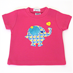 Elephant appliqued girls hot pink t-shirt.