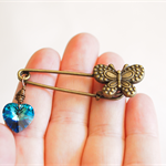 Heartfelt Fundraiser, Swarovski crystal heart kilt pin with butterfly