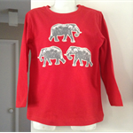 Red Winter Boys cotton top with African Elephants applique in sizes 1 to 7